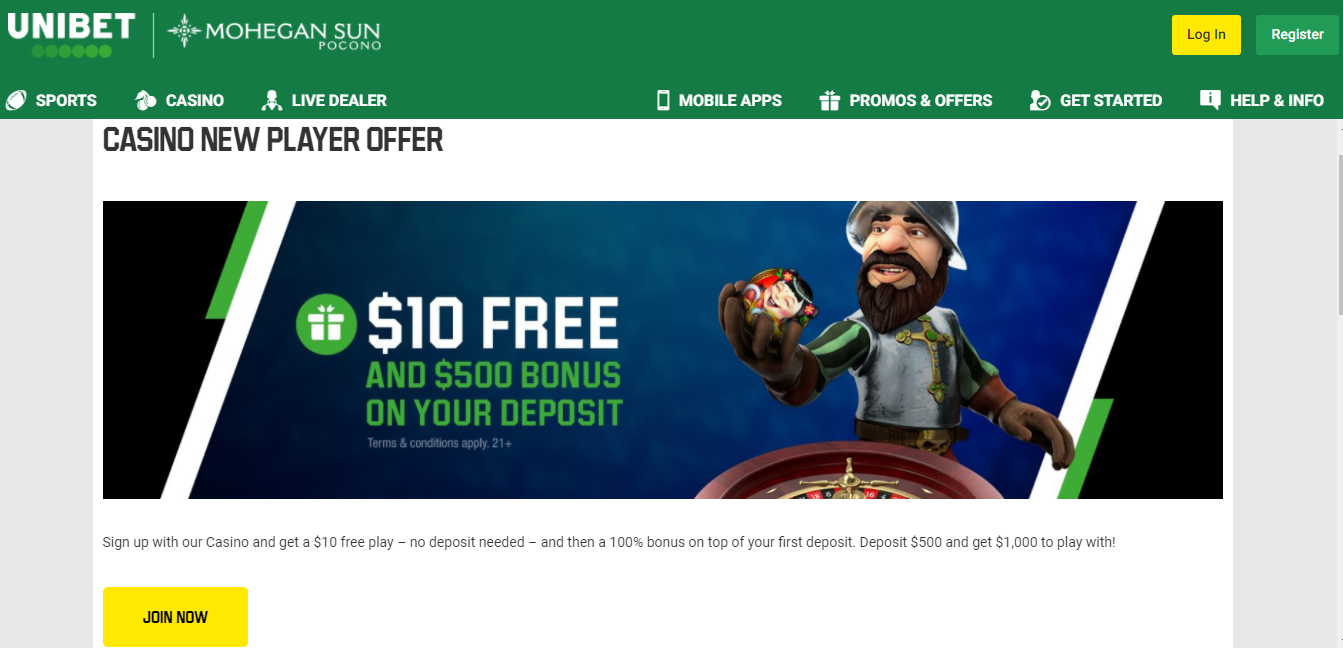 Unibet Casino PA desktop
